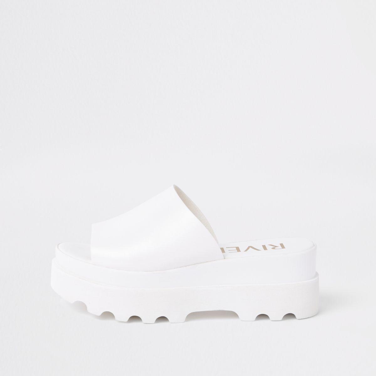 White chunky slip on sandals