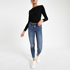 Molly - Middenblauwe ripped jegging met halfhoge taille