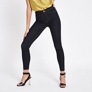 Harper – Dunkelblaue, bestickte Jeans mit Gesäßtasche