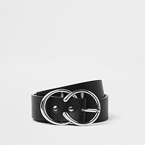 Black silver tone horseshoe double ring belt