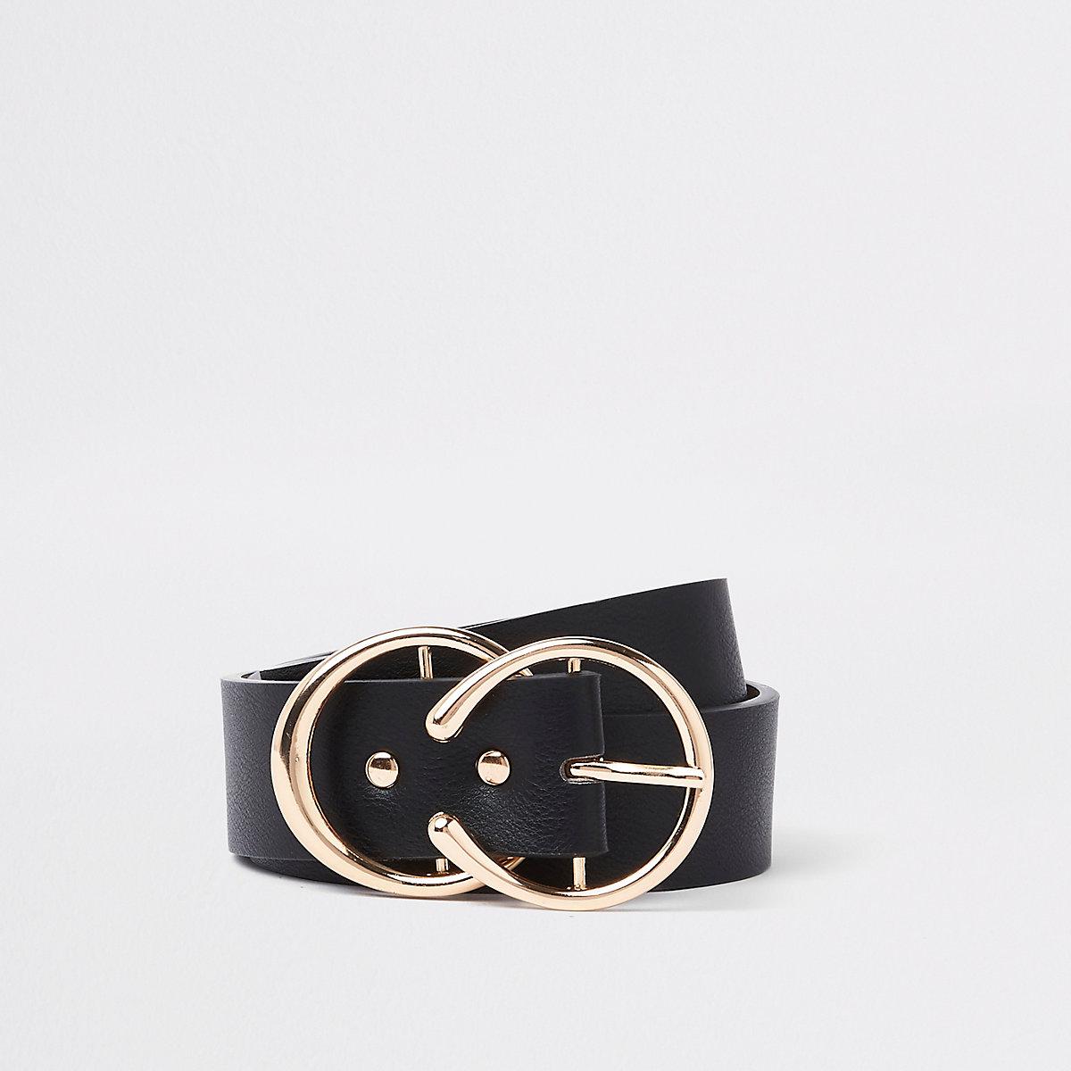 Black gold tone horseshoe belt