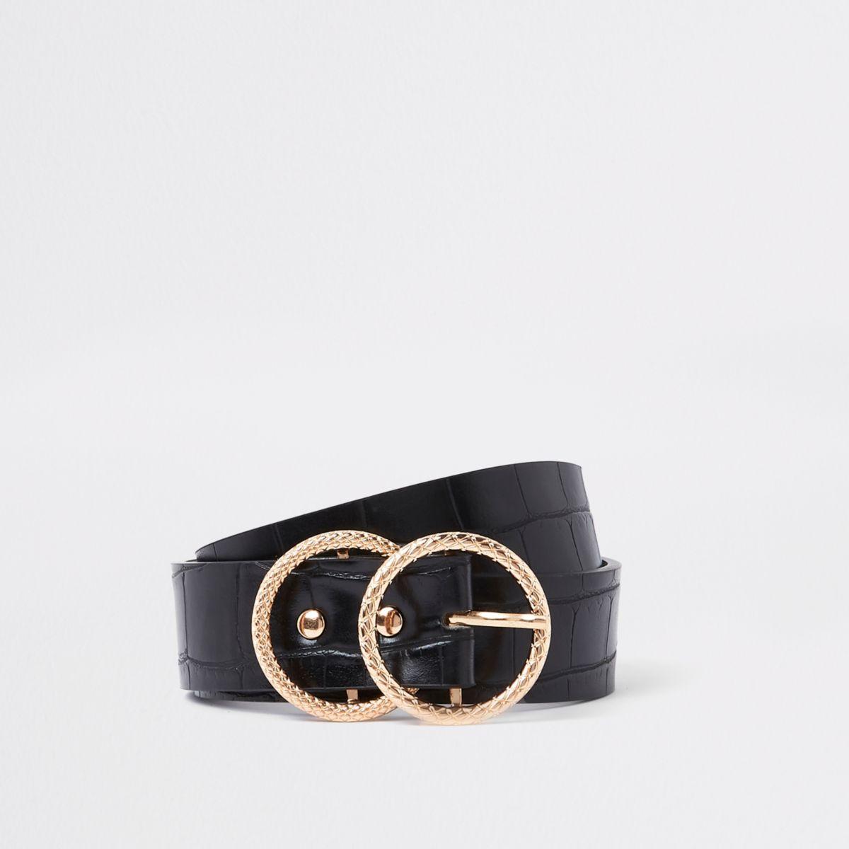 Zwarte riem met krokodillenprint en dubbele ring