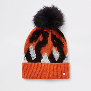 Orange leopard print pom pom beanie hat
