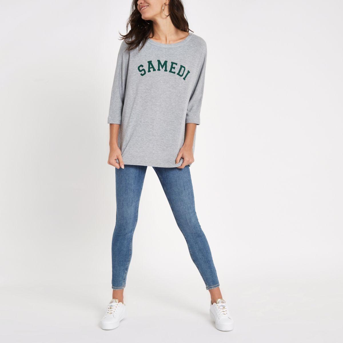 Grey 'samedi' print loose fit top