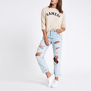 """Beiges Sweatshirt """"Samedi"""""""