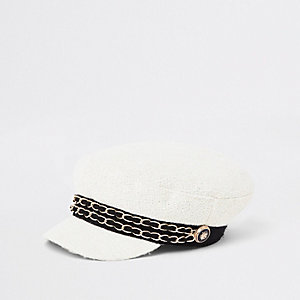 Cream double chain baker boy hat