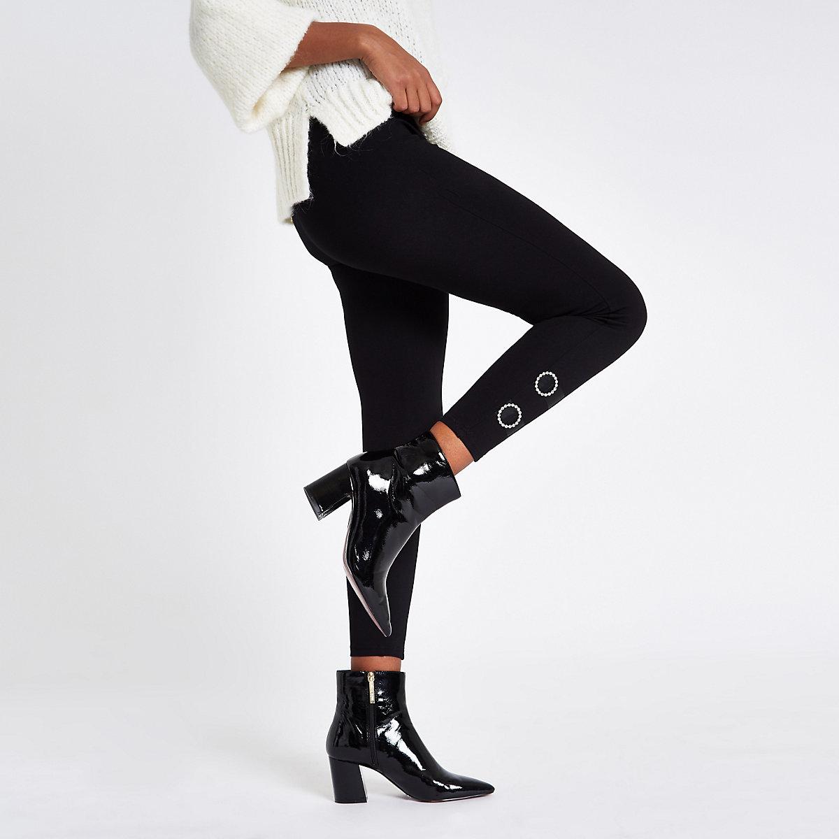 Black diamante embellished leggings