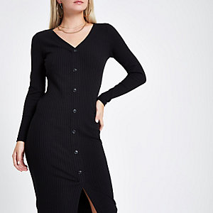 Petite black button front bodycon dress