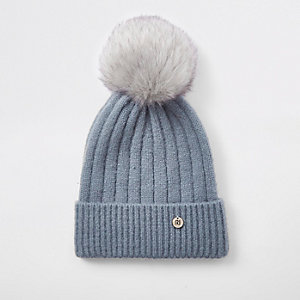 Light blue faux fur bobble knit beanie hat