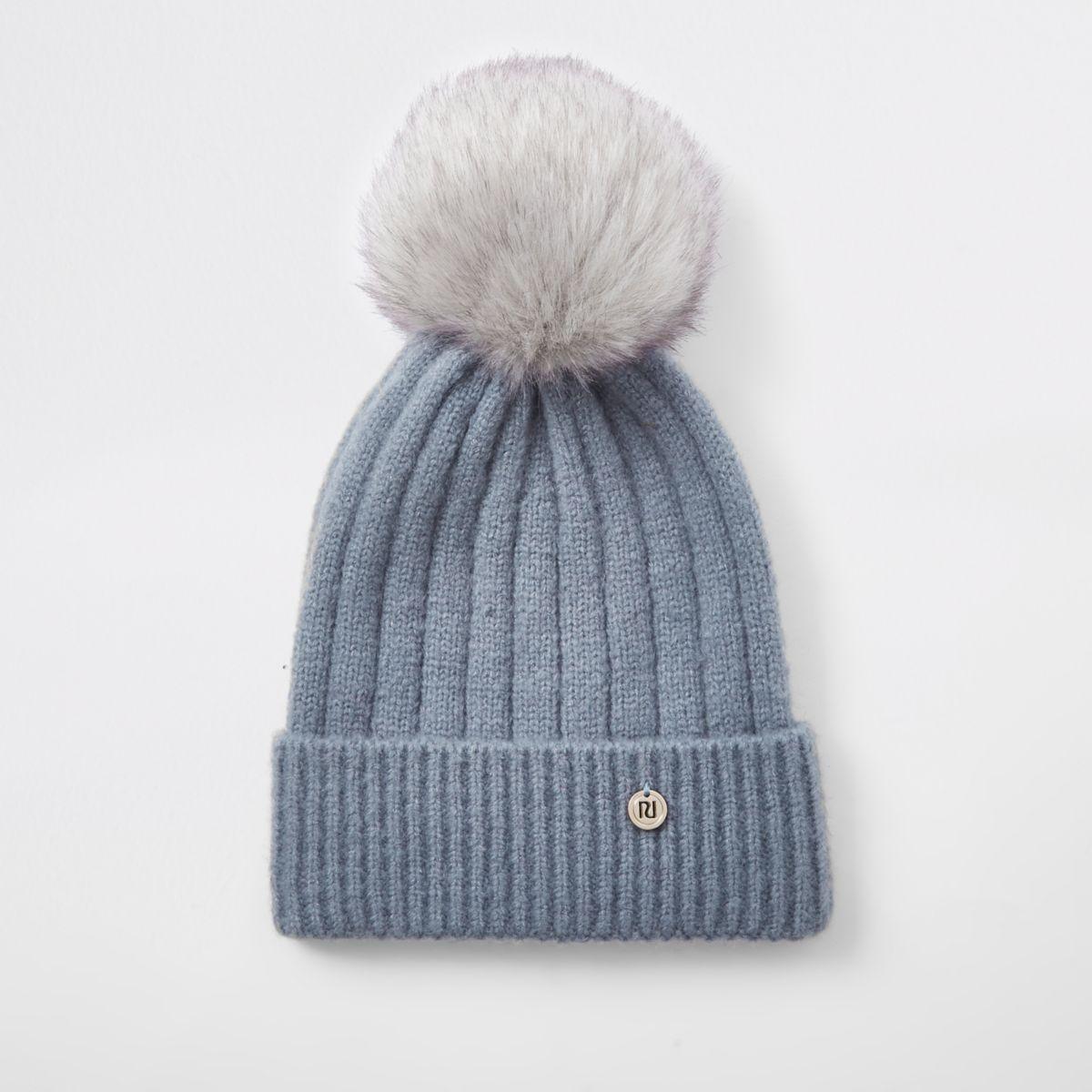 Light blue faux fur bobble knit beanie hat