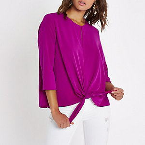 Bright purple split front knot side top