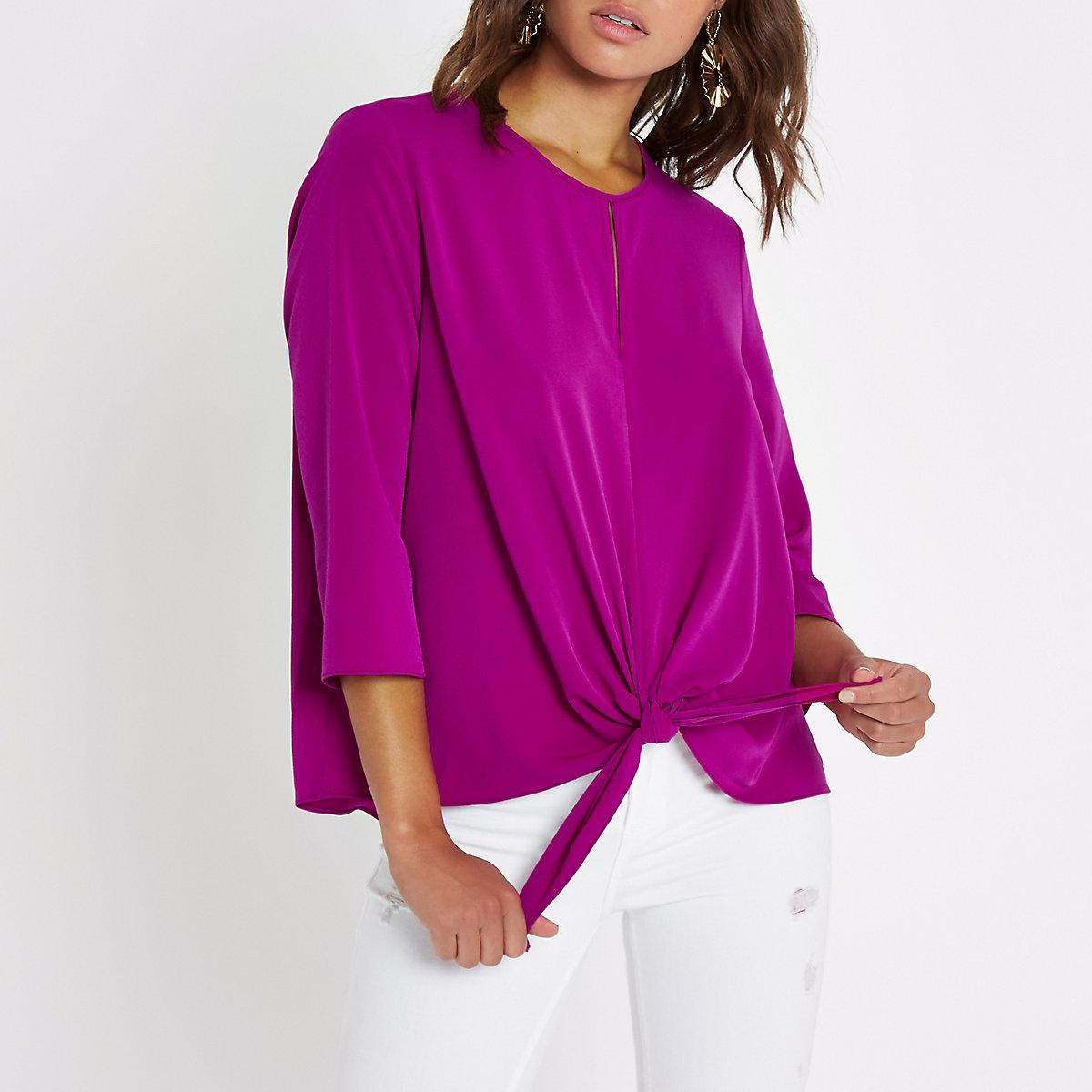Bright purple split front knot side top