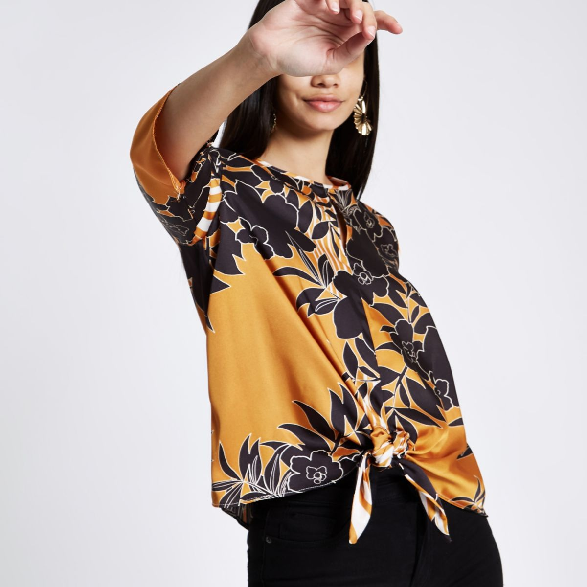 Orange floral and stripe print tied front top
