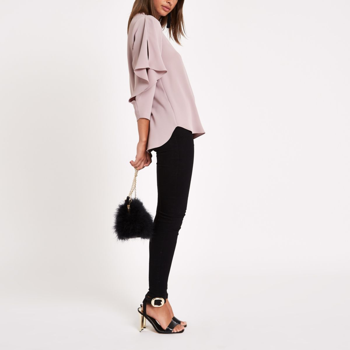 Pink frill sleeve top