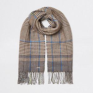 Bruine geruite tweezijdige sjaal