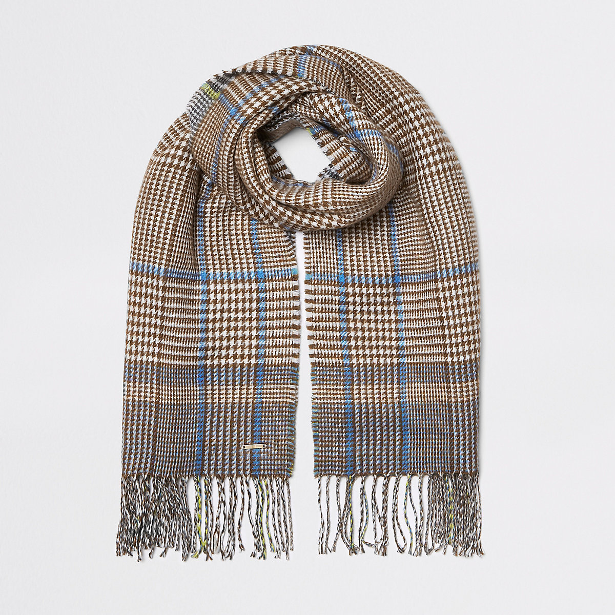 Brown check double sided scarf