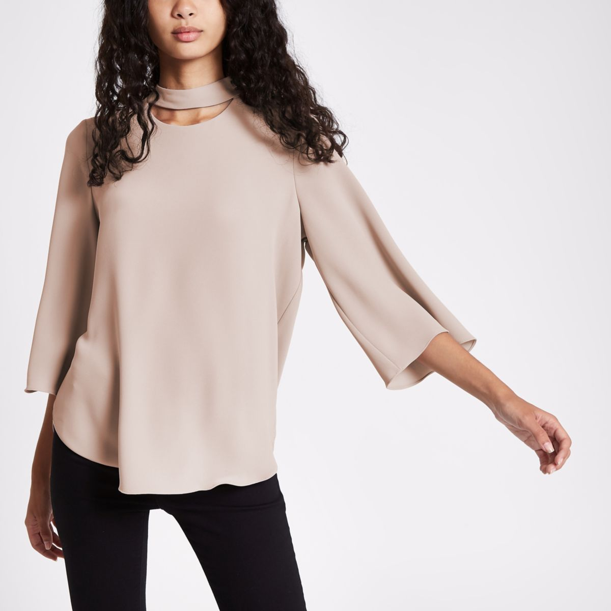 Brown button neck long sleeve top