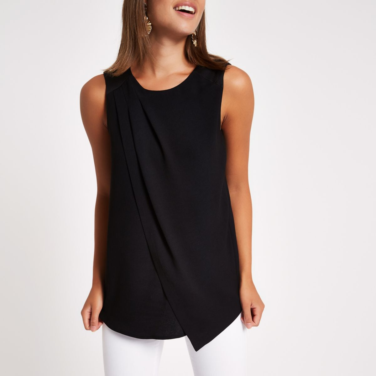Black sleeveless wrap top
