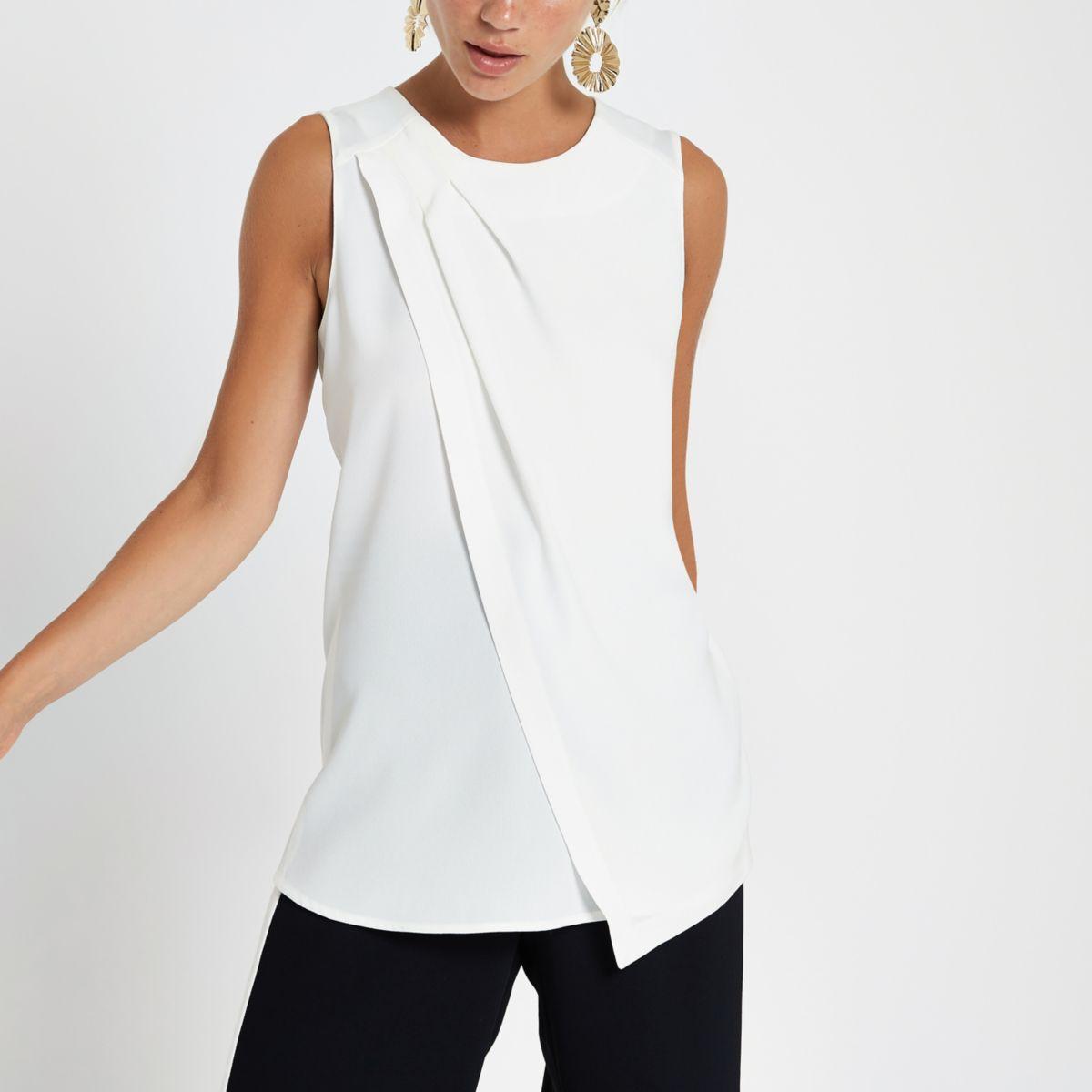 White sleeveless wrap top