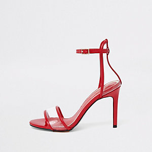 Red perspex barely there sandals