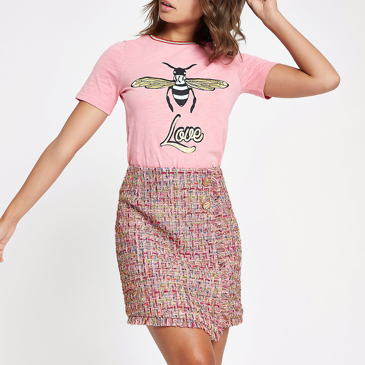 Pink check boucle button mini skirt