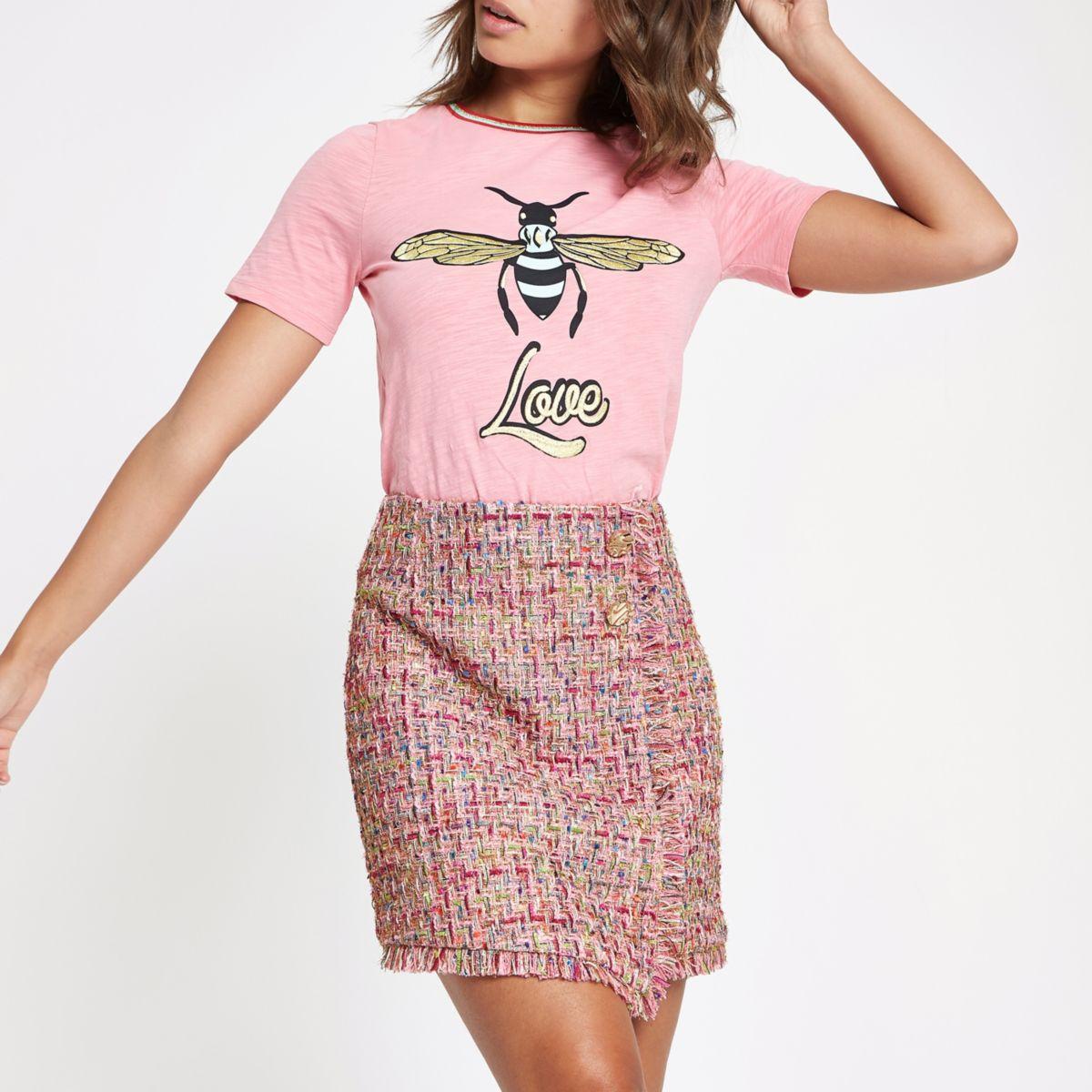 Pink check boucle button mini skirt
