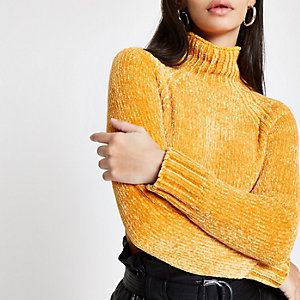 Yellow knit chenille sweater