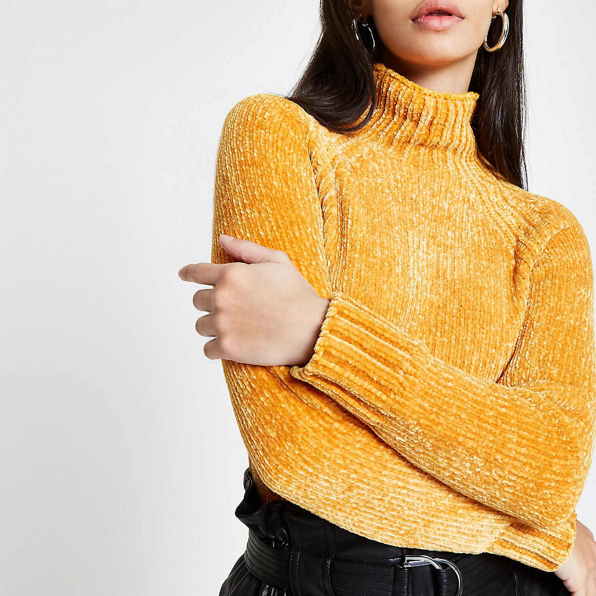 Yellow knit chenille sweater