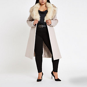 Plus beige belted faux fur robe coat
