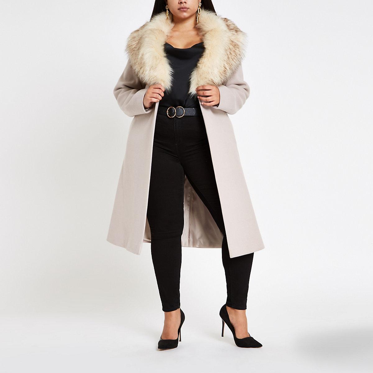 Plus beige belted faux fur robe coat