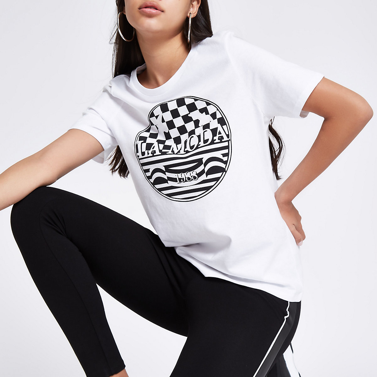 White 'la moda' print fitted T-shirt