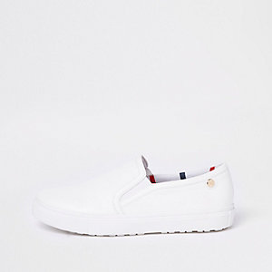 White slip on plimsolls