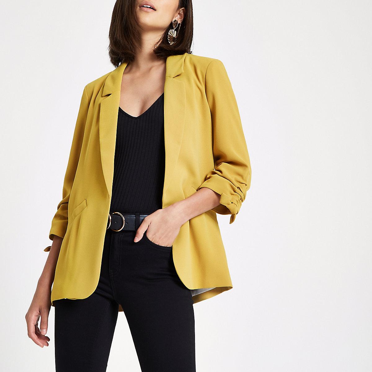 Yellow ruched sleeve blazer