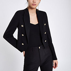 Black double breasted crop tux blazer