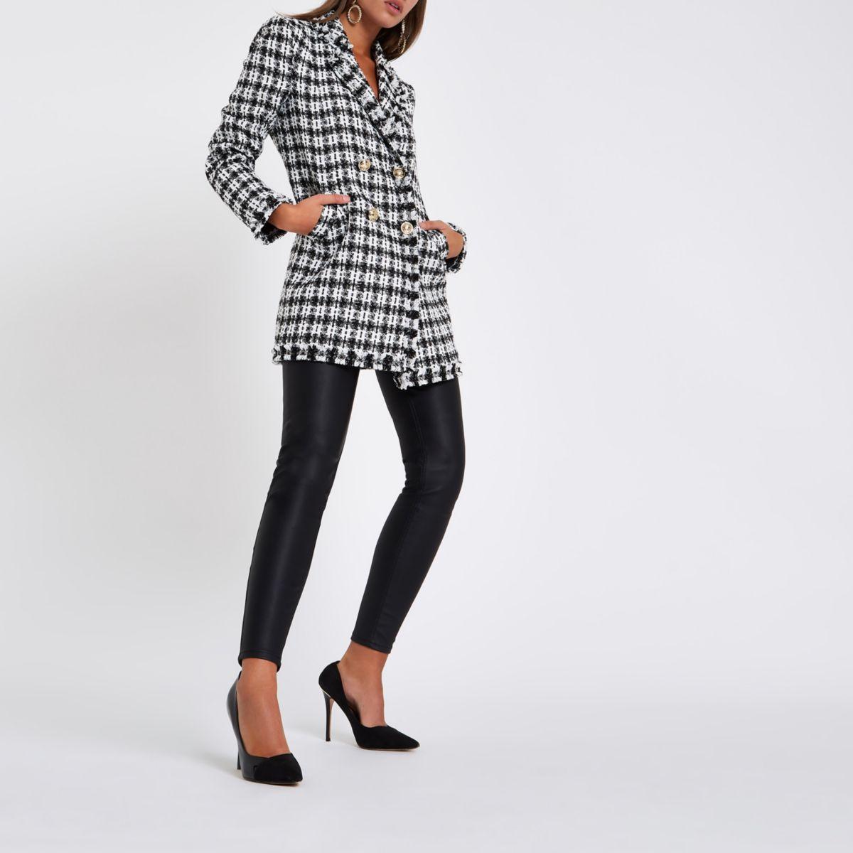 White check boucle longline jacket