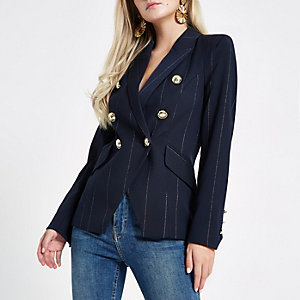 Petite navy stripe double breasted tux blazer