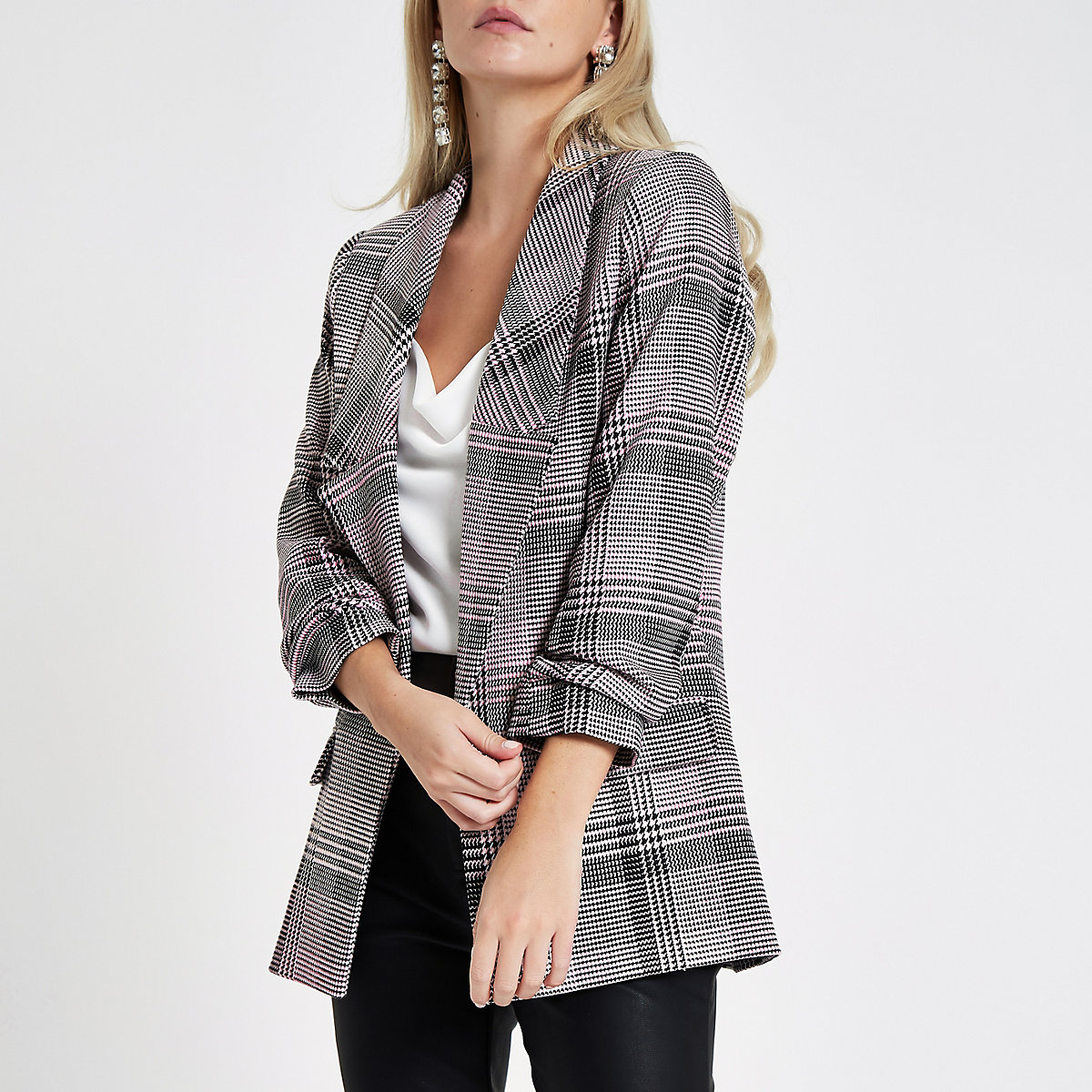 Petite pink check print long sleeve blazer