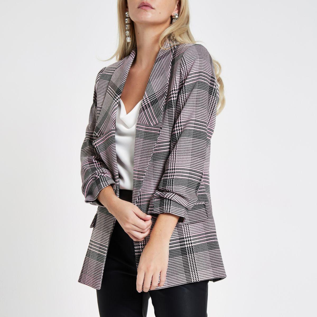 Petite pink check print long sleeve blazer