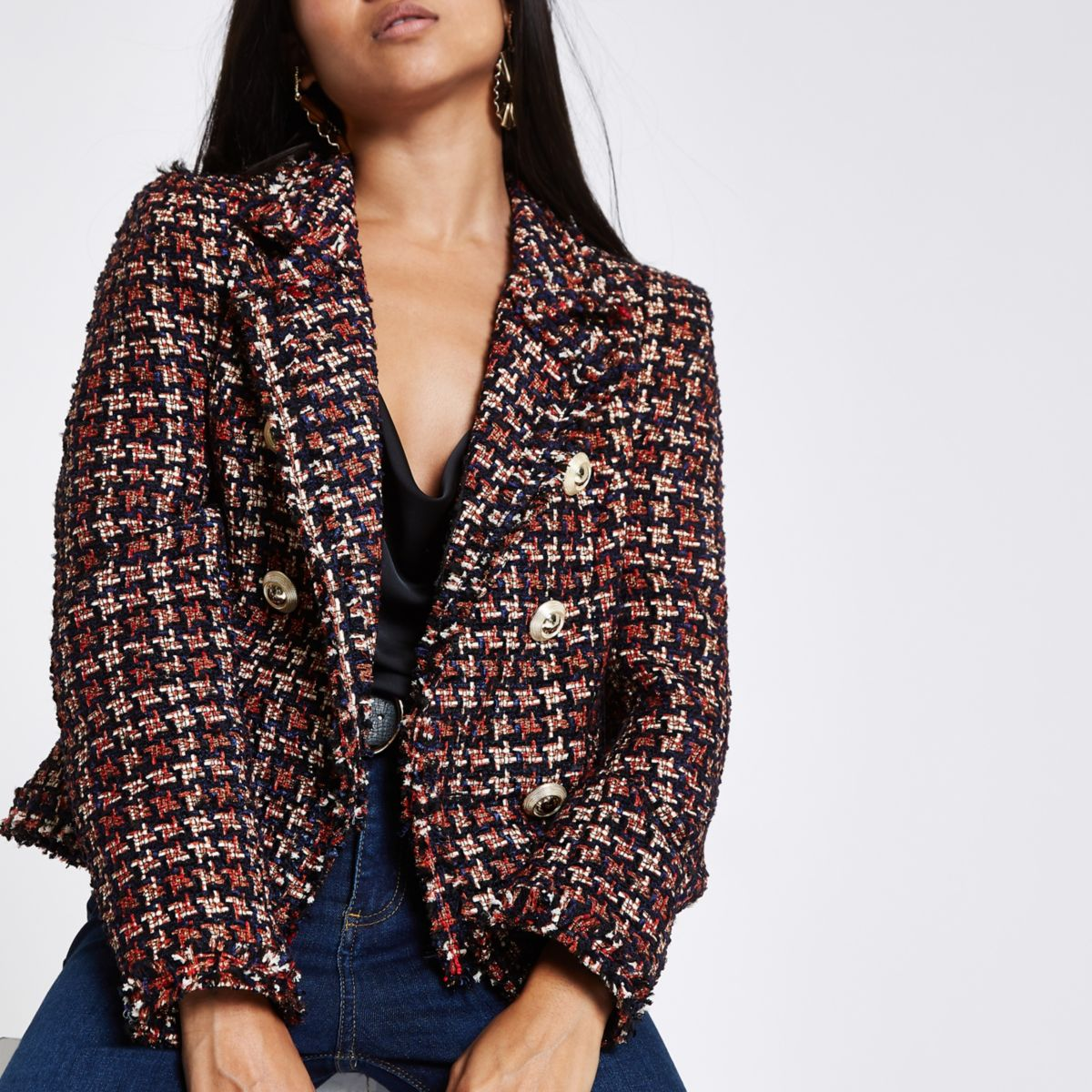 Petite red check boucle double breast jacket