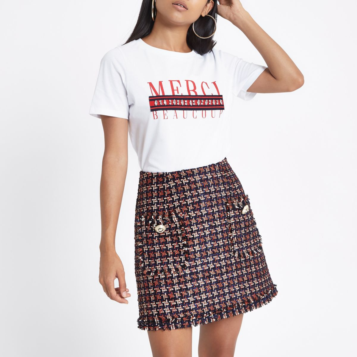 Petite red houndstooth print boucle skirt