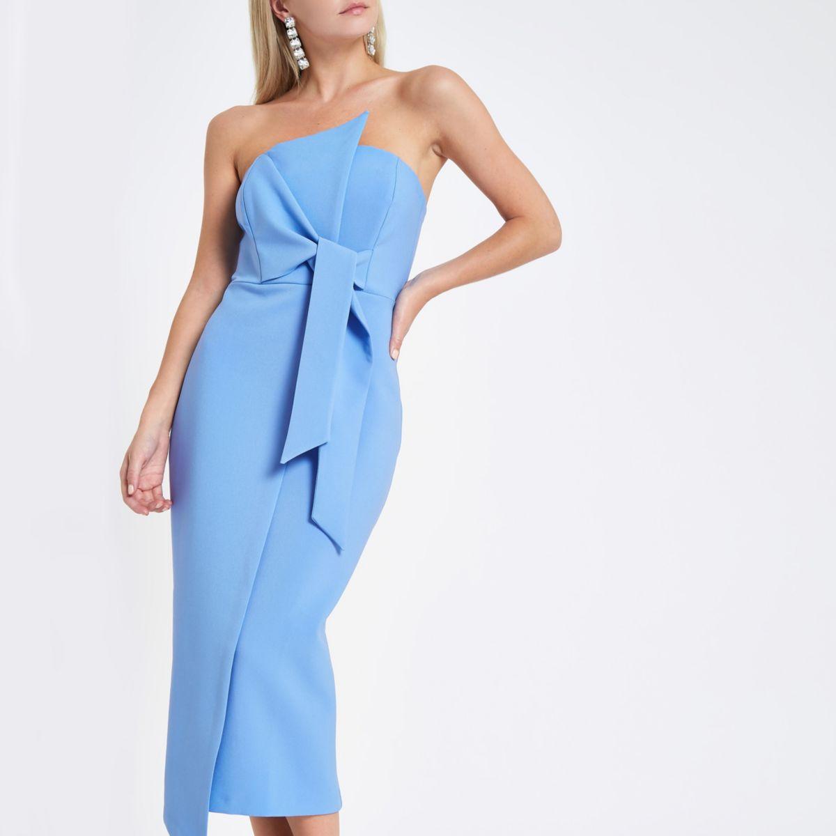 Petite light blue bandeau bodycon midi dress