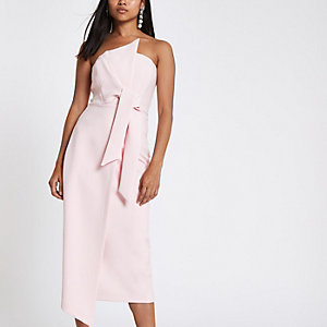 Petite light pink bandeau bodycon midi dress