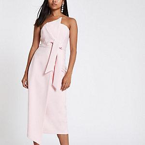 RI Petite - Lichtroze bodycon mini-jurk in bandeaustijl