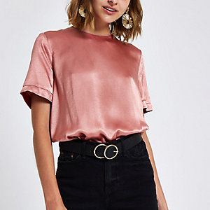Pinke Loose Fit T-Shirt mit Reißverschluss