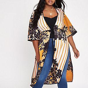 Plus – Geblümter Kimono zum Binden in Orange