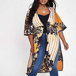 Plus – Kimono à fleurs orange noué sur le devant