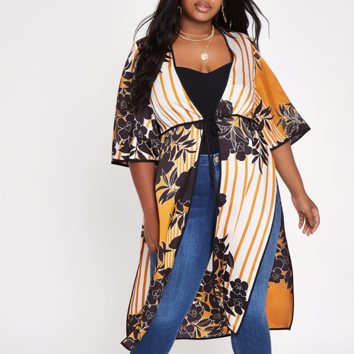 Plus orange floral tie front kimono
