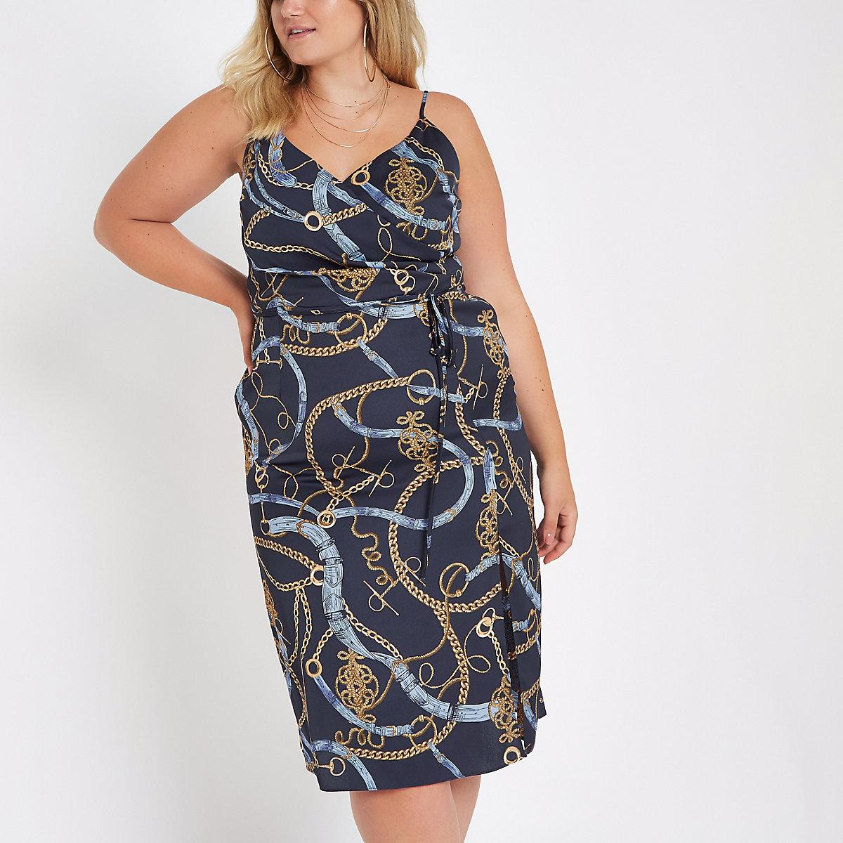 Plus navy print midi slip Dress
