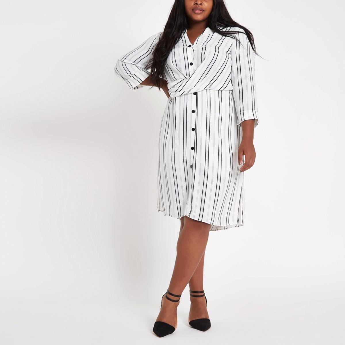 Plus white stripe twist front shirt dress