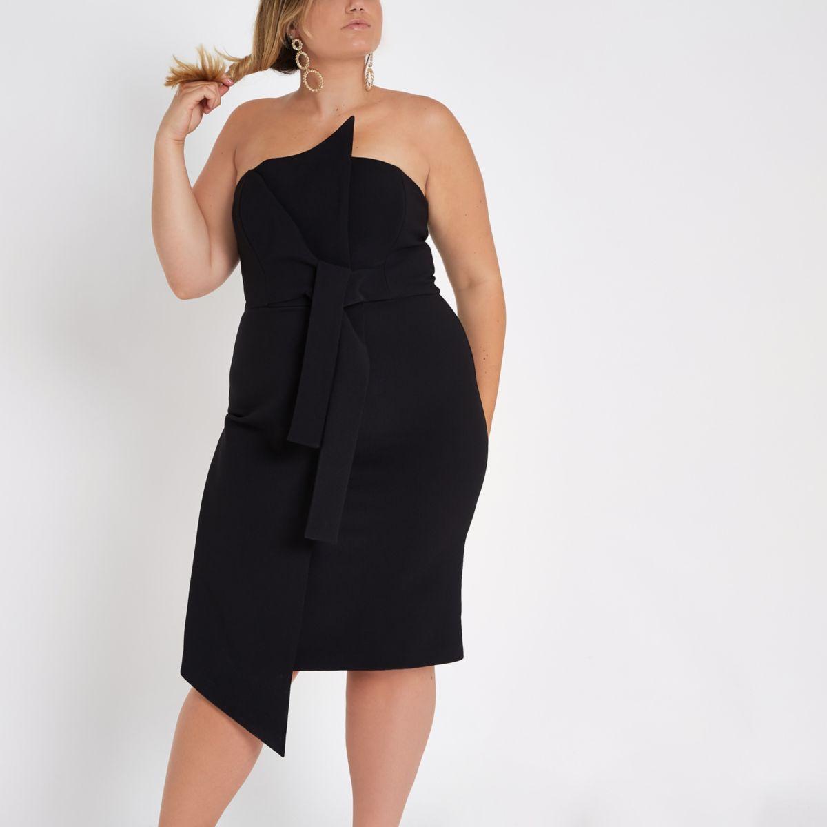 Plus black knot front bandeau midi dress